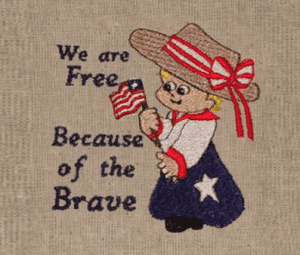 We Are free words little girl with flag Free Patriotic Designs