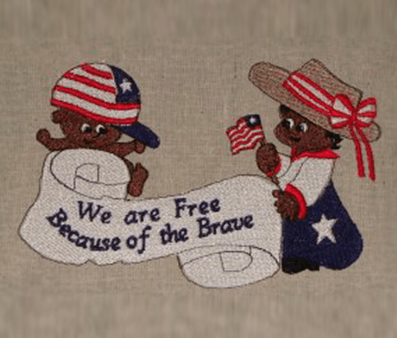 we are free because of the brave black Free Patriotic Designs