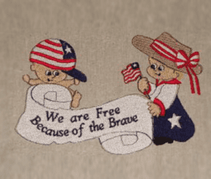 we are free because of the brave white Free Patriotic Designs
