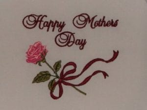 Happy Mothers day rose embroidery