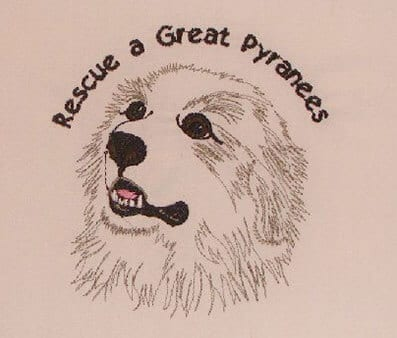 Rescue a great Pyrenees embroidery