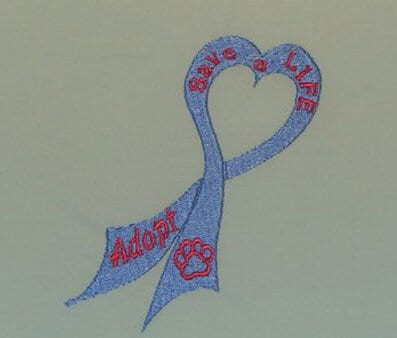 Adopt Ribbon Free Pet Rescue embroidery designs
