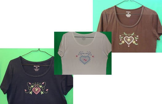 Heart embroidery on t shirts