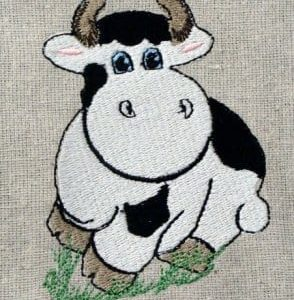 cow animal embroidery