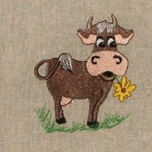 Jersey cow animal embroidery