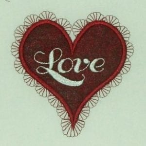 Love in Heart embroidery applique designs