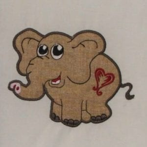 elephant with heart tatoo embroidery applique designs