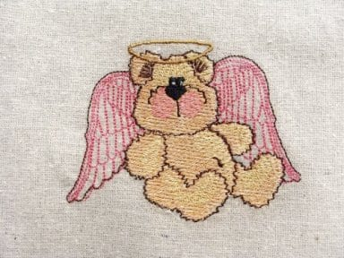 bear with angel wings embroidery