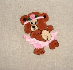 bear with ballerina tutu Machine Embroidery