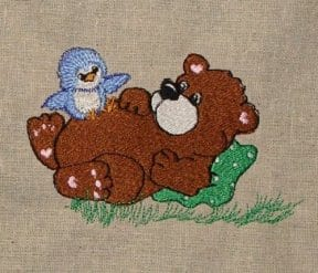 cute bear with bluebird Machine Embroider