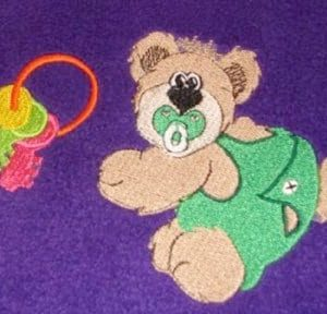 cute girl bear with bow embroidery