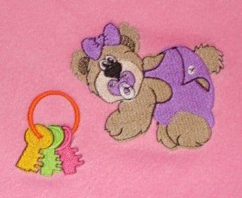 cute bear with bow embroidery