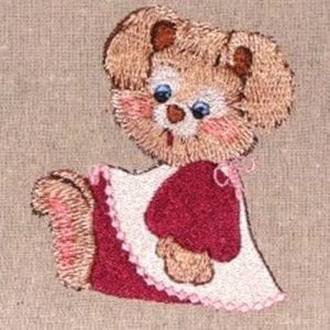 girl bunny in pinafore Machine Embroidery