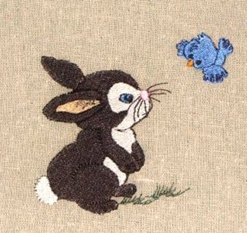 bunny with bird embroidery