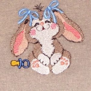 cute girl bunny with bow embroidery