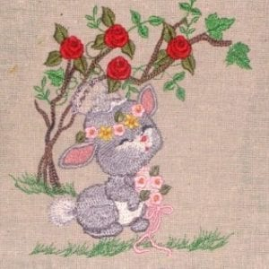 grey bunny in her wedding embroidery
