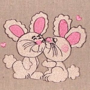 Lovely Pink bunny embroidery