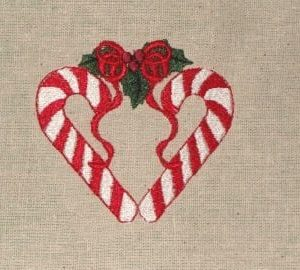 candy cane heart Christmas embroidery design