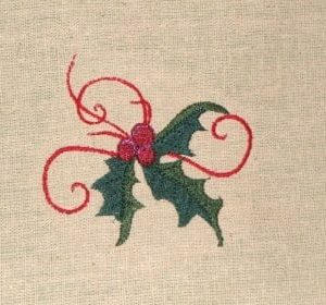 Holly Christmas embroidery design