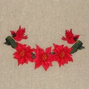Poinsettias and Cardinal Christmas embroidery design