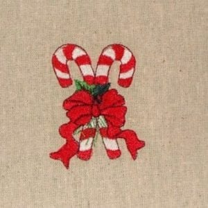 Double Candy Cane Christmas Embroidery