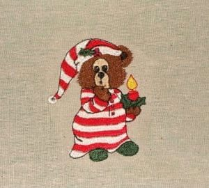 nightgown bear Christmas machine embroidery design