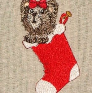 pup in stocking Christmas machine embroidery design