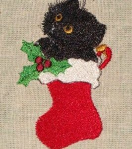 kitten Christmas machine embroidery design