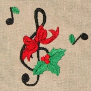 Music note Christmas machine embroidery design