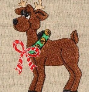 reindeer Christmas machine embroidery design