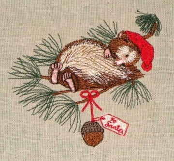 squirrel Christmas machine embroidery design