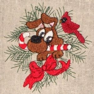 pup Christmas machine embroidery design