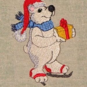 polar bear Christmas machine embroidery design