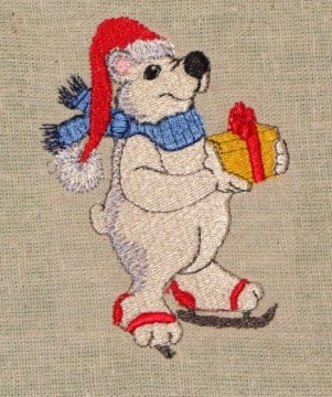 polar bear Christmas machine embroidery design