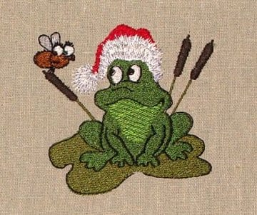 Frog Christmas machine embroidery design