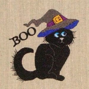 BOO cat Halloween machine embroidery design