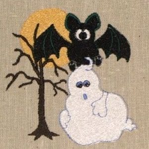 Ghostly Bat Halloween machine embroidery design