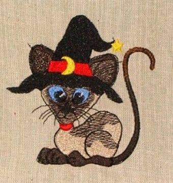 witchee meezer cat Halloween machine embroidery design
