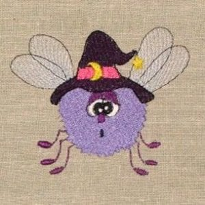 purple fly Halloween machine embroidery design