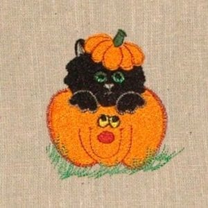 cute kitten in pumpkin Halloween embroidery design