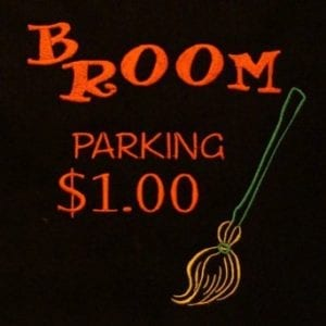 Broom parking Halloween embroidery design