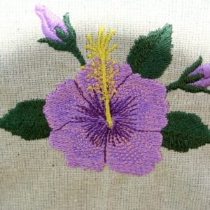 beautiful purple Hibiscus embroidery design
