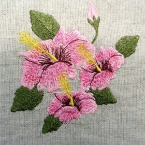 pink triple Hibiscus Machine embroidery design
