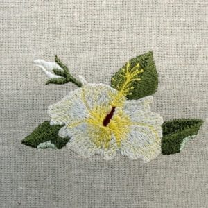 White Hibiscus Machine embroidery design