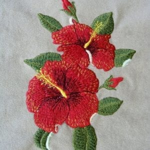 Red Hibiscus Machine embroidery design