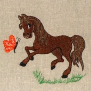 Pony playing embroidery