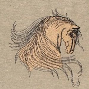 Buckskin colored horse head Machine Embroidery
