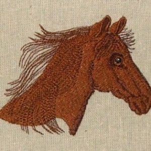 sorrel horse head Machine Embroidery