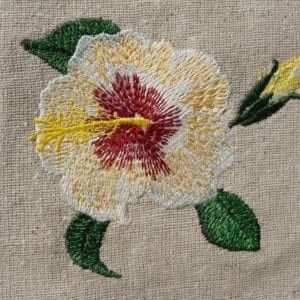 beautiful white Hibiscus embroidery design