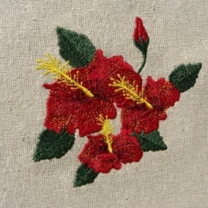 beautiful red triple Hibiscus embroidery design